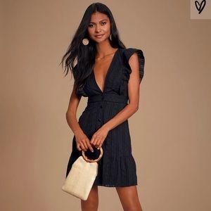 Black Swiss Dot Button-Front Mini Dress
